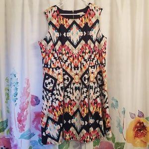 Dressbarn Scuba Knit Aztec Swing Dress Size 18W